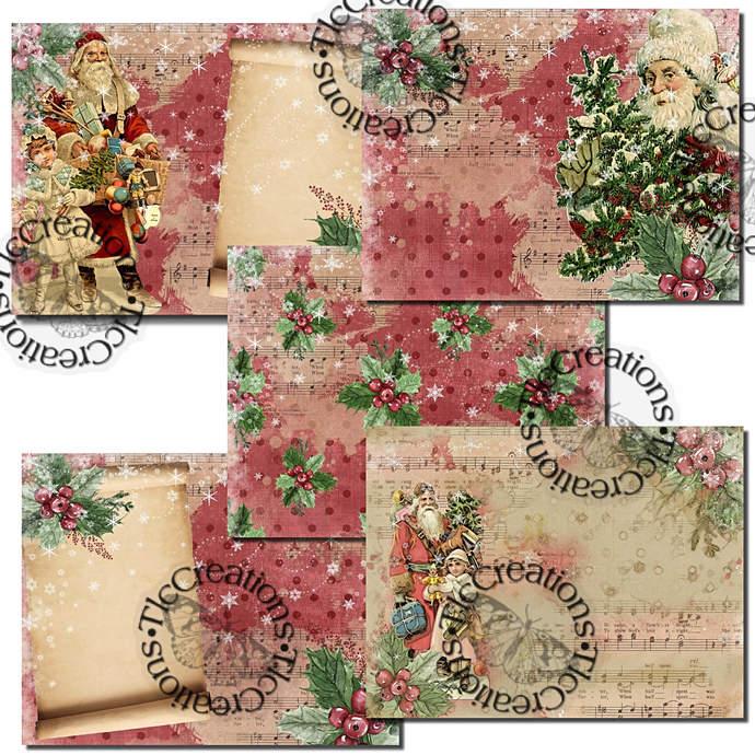 Santa Time Vintage Printable Journal Papers Scrapbook and add ons