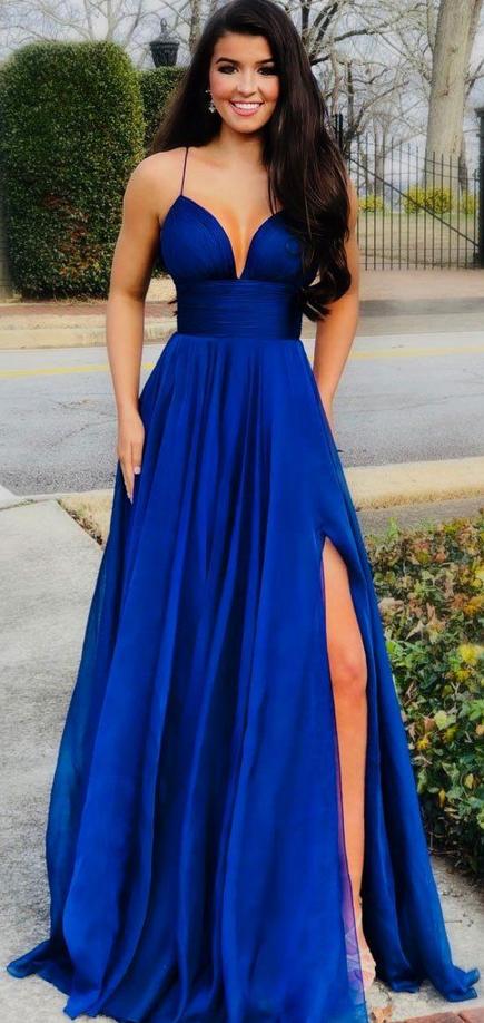 Sexy A Line Royal Blue Satin Long Prom Dress V-Neck Prom Dresses ,Custom Made