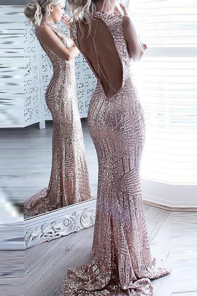 Mermaid Prom Dresses,Long Prom Dresses,Sparkly Prom Dresses,Backless Prom
