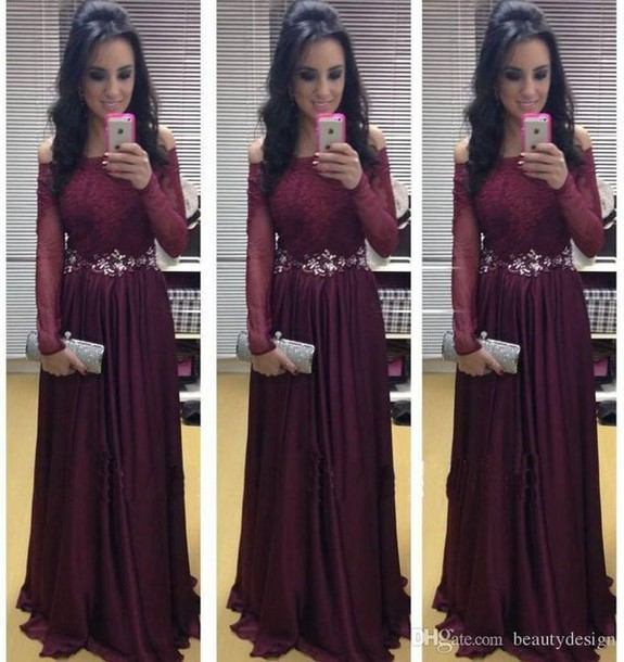 New Arrival Long Sleeve Floor-Length Charming Prom Dresses,A-Line Lace