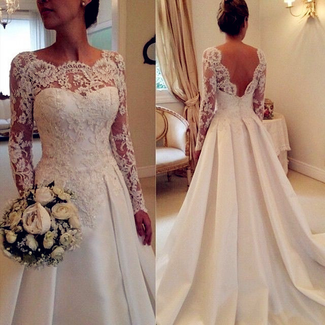 Newest Long Sleeve Ivory Wedding Dresses,A-Line Lace Wedding Dresses, Backless