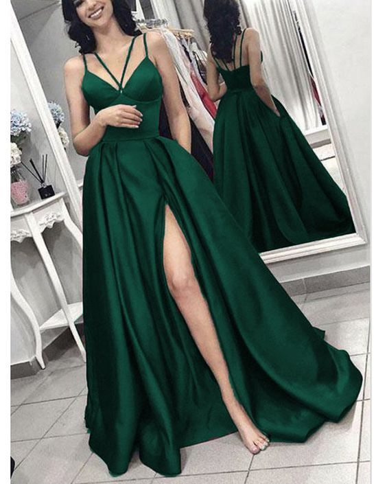 2019 prom dress Hunter Green Long Evening Gown with Slit