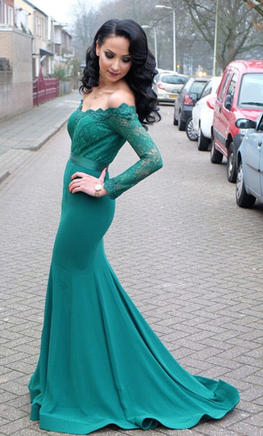 Mermaid Long Sleeves Lace Evening Party Dress,off Shoulder Prom Dress