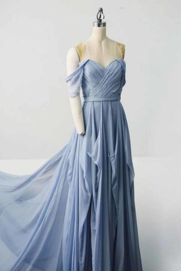 Sweetheart Blue Chiffon Long Customize Prom Dress, Off Shoulder Evening Dress