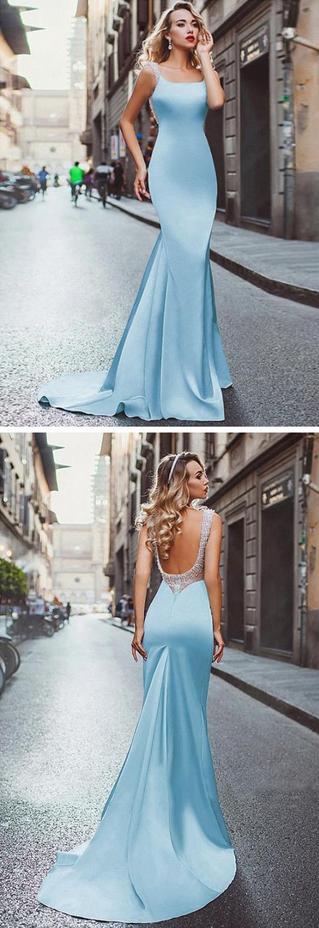 Chic Mermaid Prom Dresses Light Sky Blue Straps Modest Long Prom Dress Evening