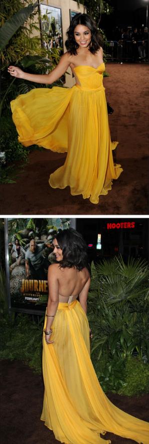 Yellow Chiffon Prom Dress,Sweetheart Prom Dress,Custom Made Evening Dress
