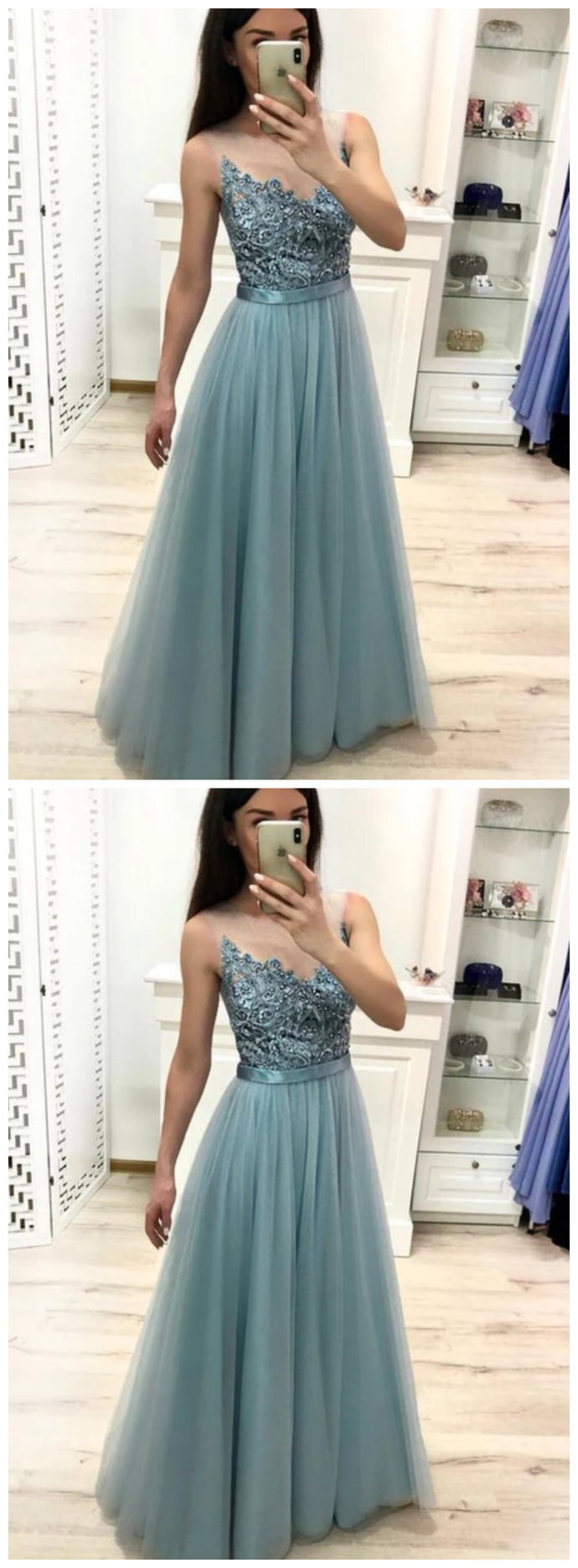 A Line Tulle Blue Floor Length Prom Dresses Beaded Long Evening Graduation