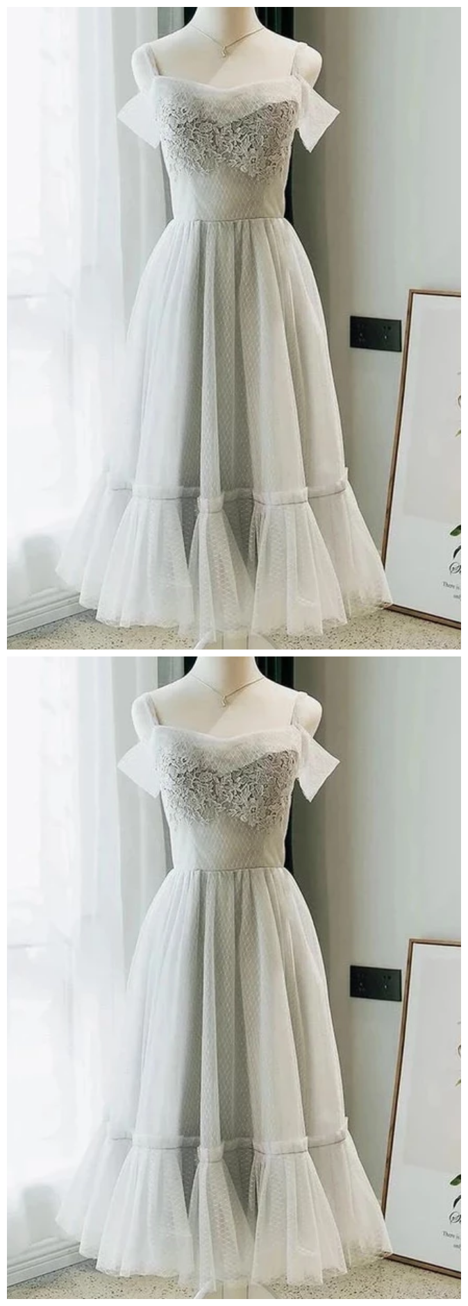 A Line Tea Length Off the Shoulder Homecoming Dresses with Lace Appliques