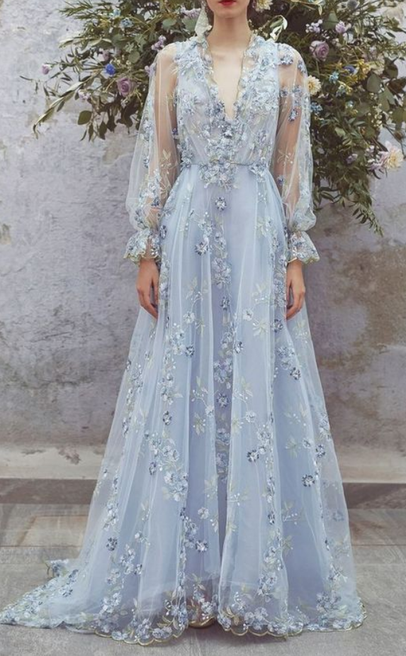 Deep V-neck ,long Lantern Sleeves ,sweep Train,floral Embroidered Dress With