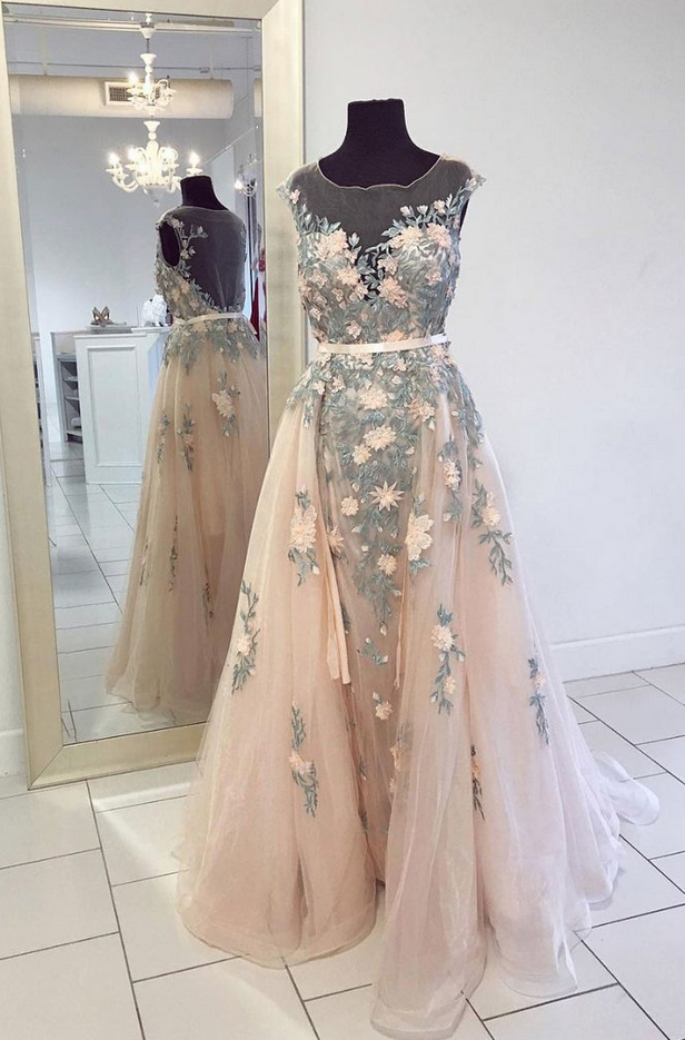Champagne Round Neck Tulle Lace Long Prom Dress, Champagne Evening Dress