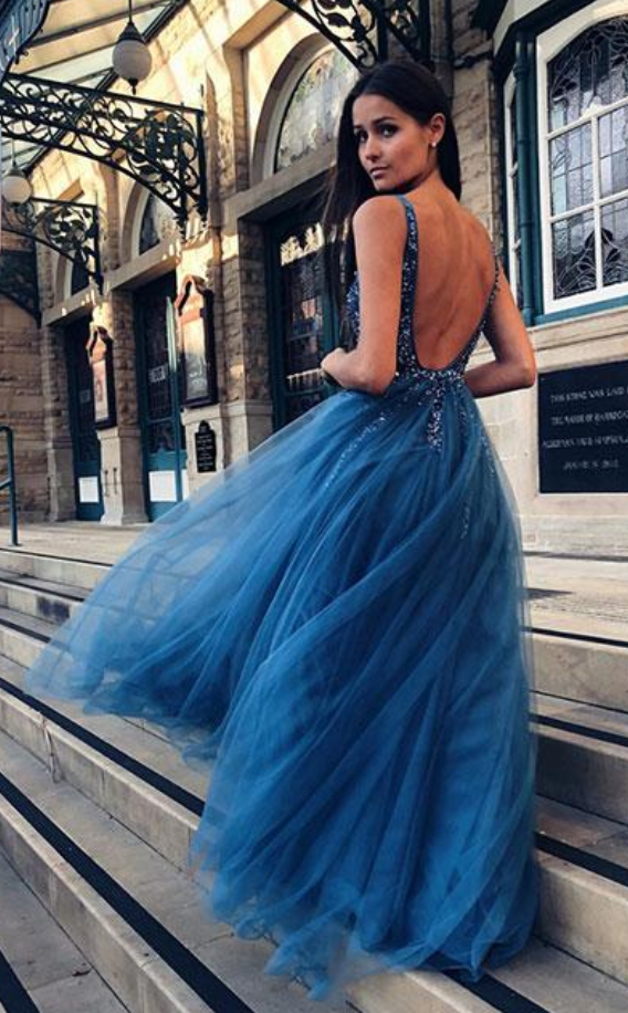 Blue V-Neck Beaded Tulle Prom Dress,Long A-Line Evening Dresses