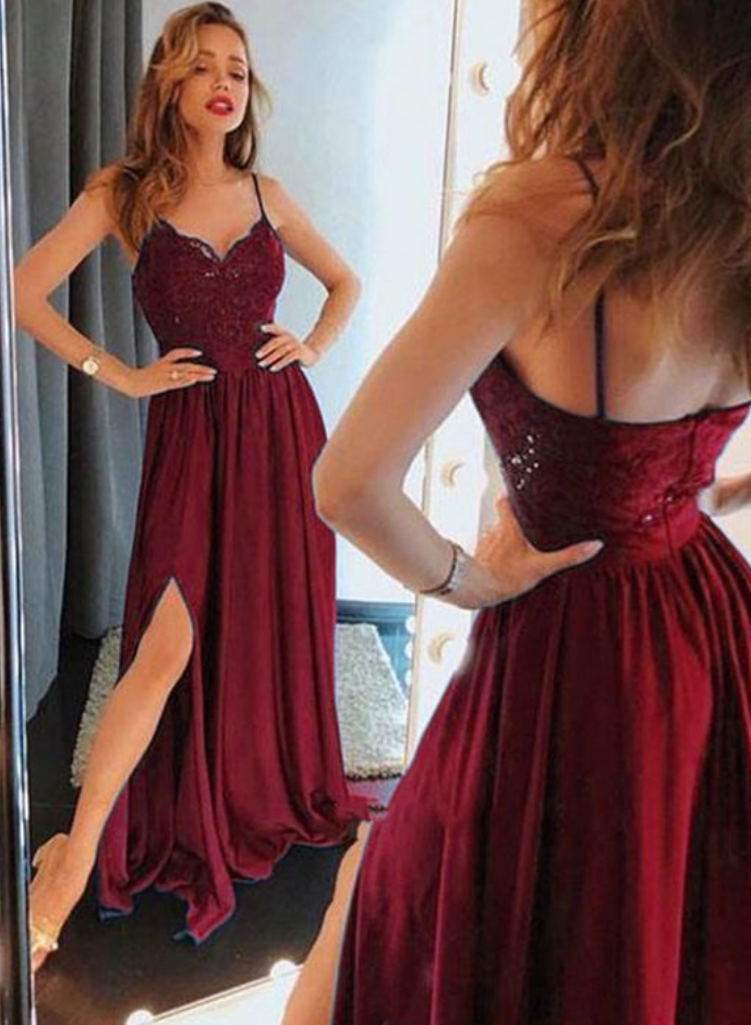 Sexy Spaghetti Straps Prom Dresses With Slit, Appliques Evening Party Dress