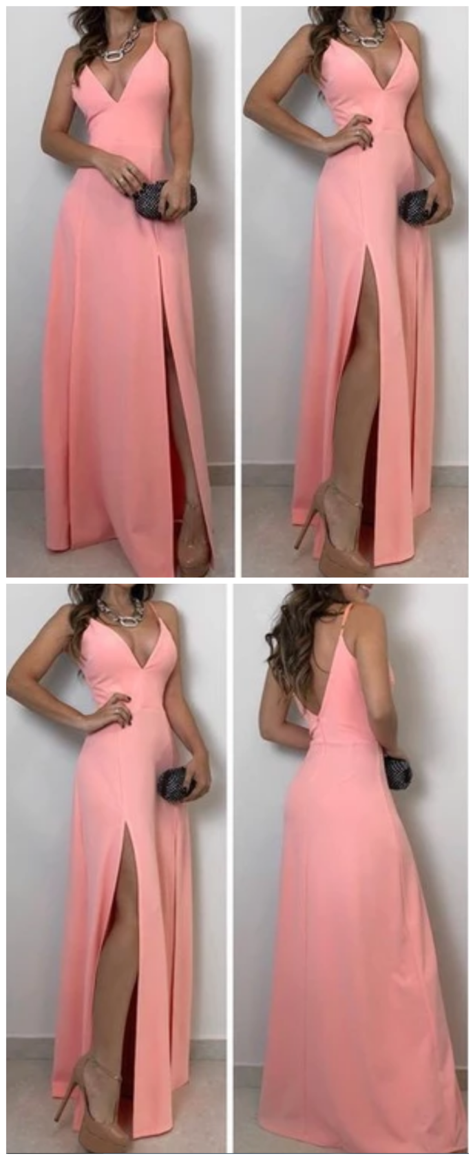 A-lien v neck pink long prom dress , open back prom dress