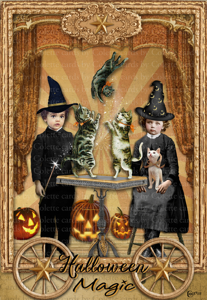 Halloween Cutest Magicians Digital Collage Greeting Card2353