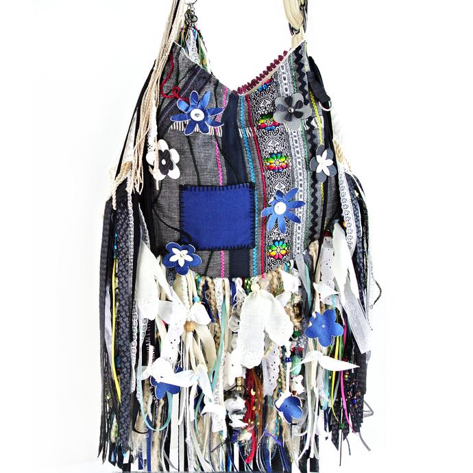 Cross-Body Fringe Gypsy Bag, Boho, Hippie, Vegan Faux Leather, Lace Blue, Black,