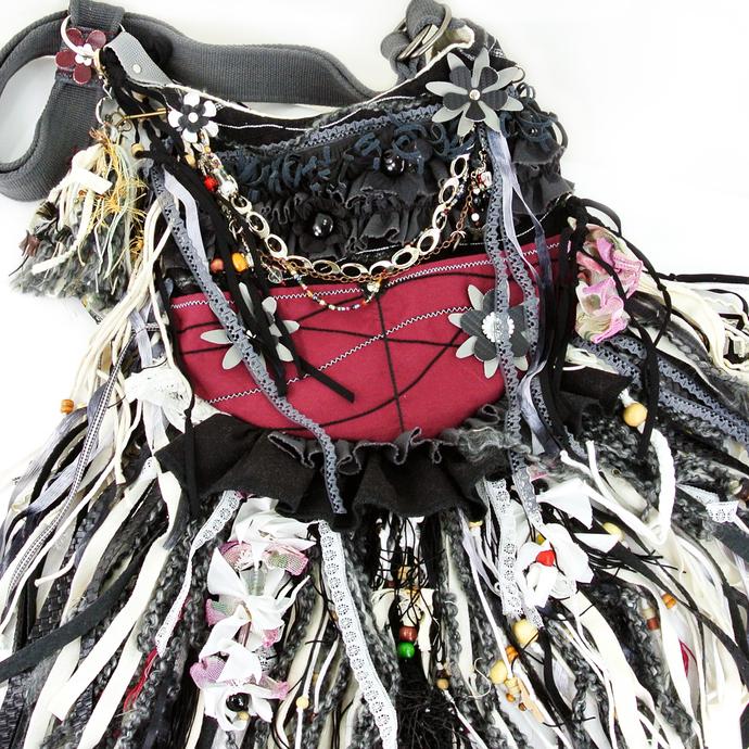 Boho, Flower Hippie, Cross-Body Fringe Gypsy Bag, Leather, Lace Burgundy Red,
