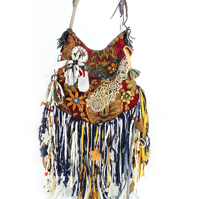 Large Boho, Flower Hippie, Embroidered Cross-Body Fringe Gypsy Bag, Leather,