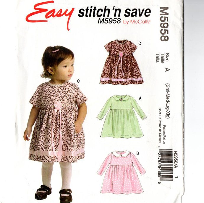 McCall's 5958 Baby Girl Dress Sewing Pattern Uncut Size S, M, L, XL 13 - 24 Lbs