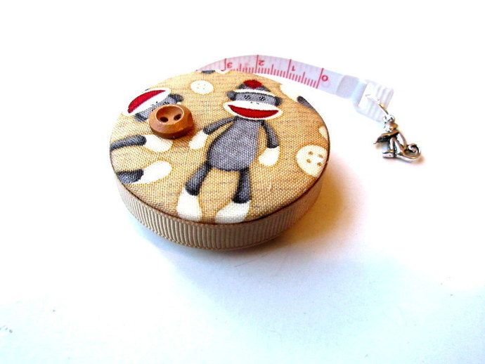 Tape Measure Sock Monkey Retractable Measuring Tape