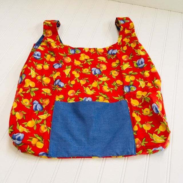 Reusable compact cotton fabric grocery tote