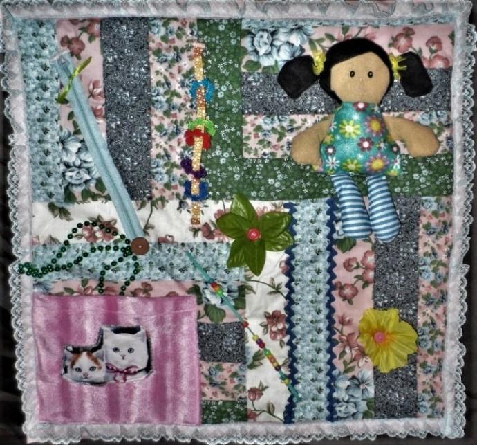 Ladies Handmade Fidget Blanket Quilt Alzheimer's Busy Hands Lap Quilt Stroke