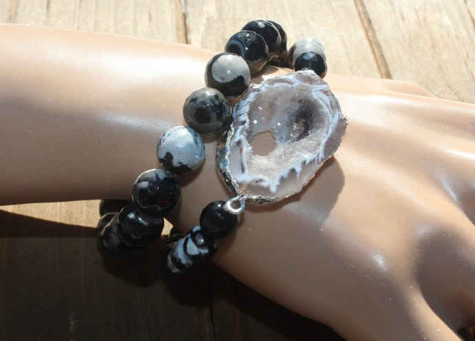 Stacking Black Bracelet Set with Druzy by KnottedUp