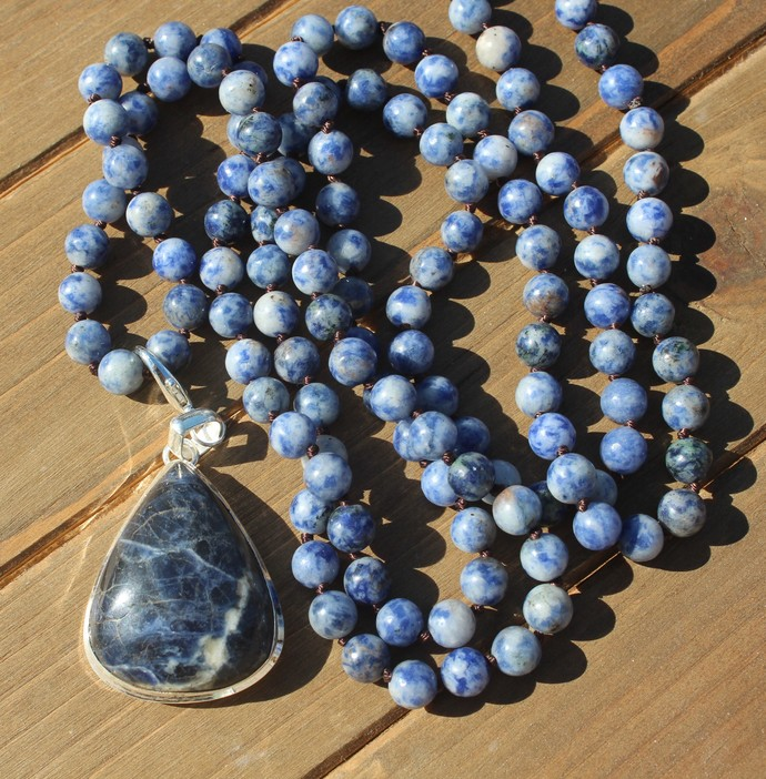 Sodalite Long Double wrap Beaded Necklace with Big Pendant Navy blue exquisite