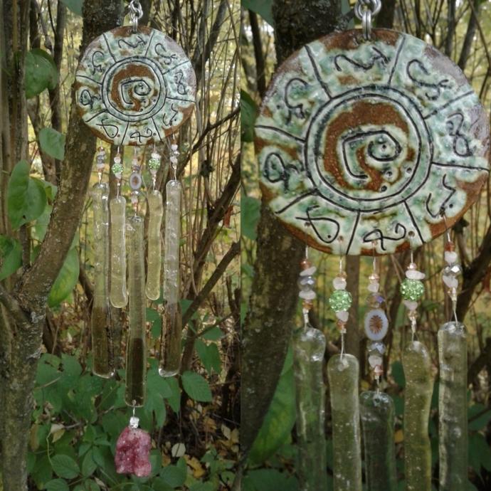 Lemurian Atlantis Glass Wind Chime MU Pottery Chimes Moss Green Sun Catcher