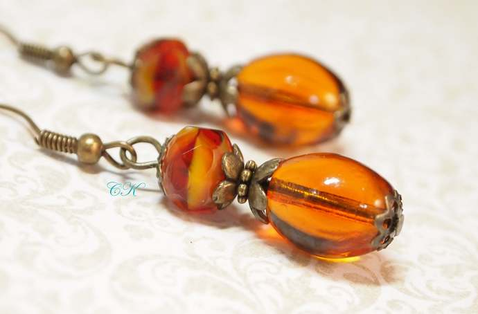 Amber Glass Bead Earrings Fall Earrings Vintage Style Drop Earrings Beaded