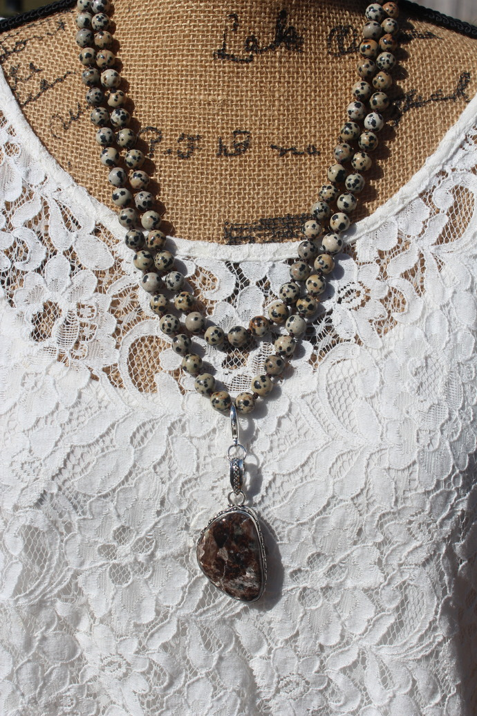 Long Double Wrap Hand Knot Beaded Necklace with Pendant One of a Kind Jewelry