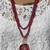 Red Double wrap Long Beaded Necklace with Druzy Pendant by KnottedUp