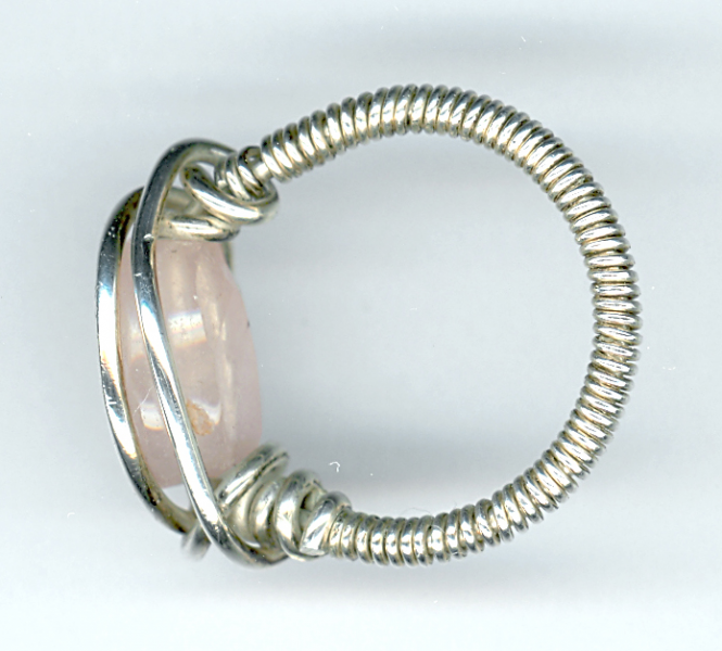 Rose quartz and sterling silver wire wrapped ring