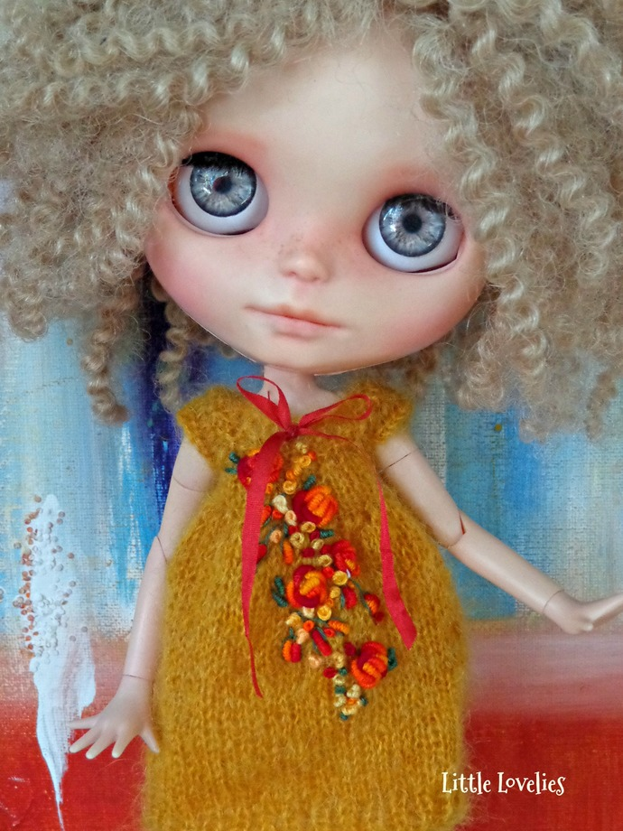 Variety of BLYTHE or Pullip DOLL Dress - OOAK -   fluffy mohair with dimensional