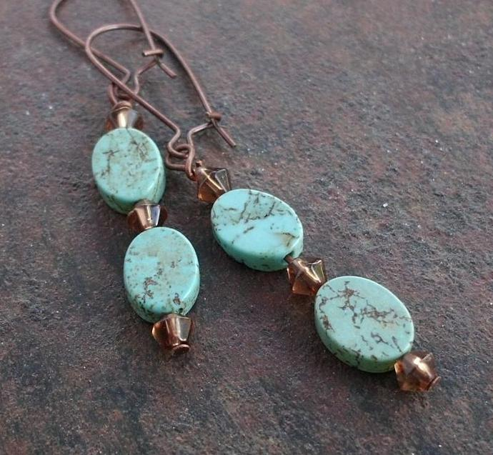 Turquoise Tablets on Copper Kidney Wires