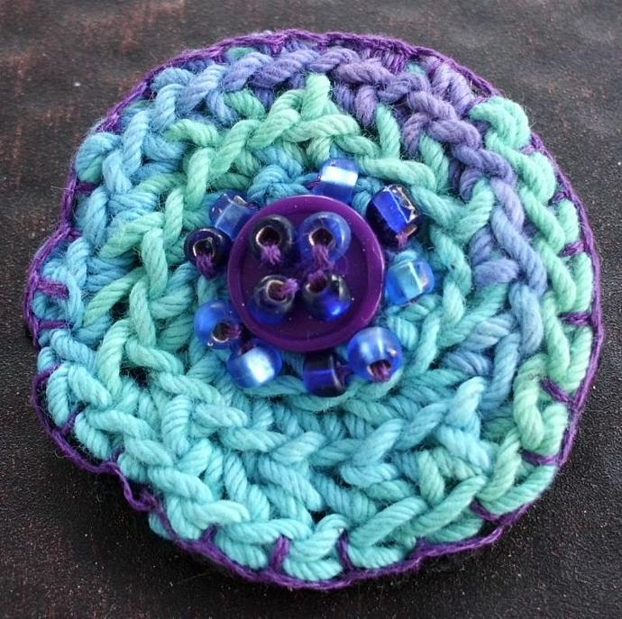Crochet Brooch Pin in Turquoise and Blue with Beads