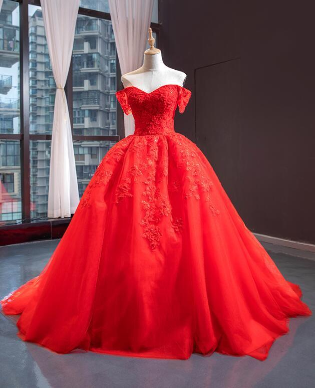Gorgeous Red Off Shoulder Tulle Prom Dress, Red Party Gown 2020