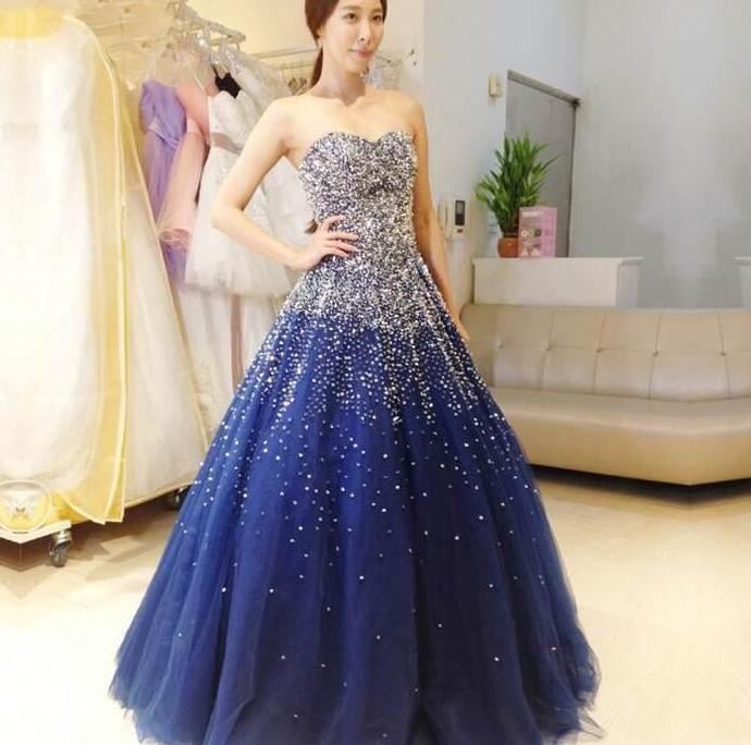 Beautiful Sparkle Blue Ball Gown Beaded Party Gown, Blue Prom Dress