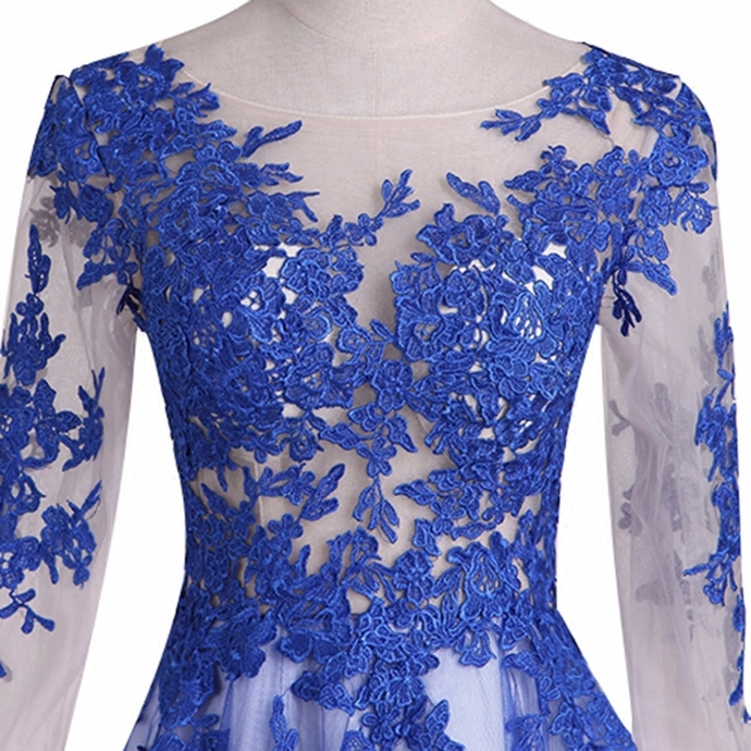 Blue Long Sleeves Tulle with Lace Applique Party Dress, A-line Prom Dress 2020