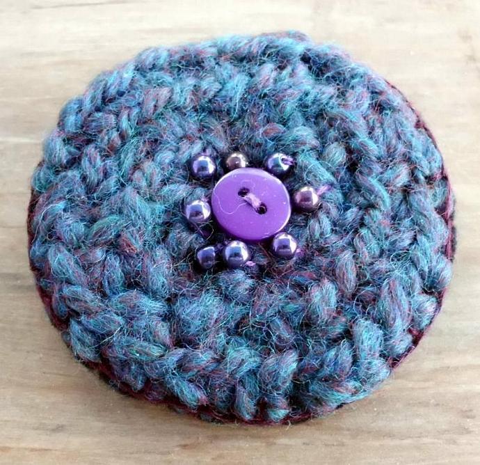 Dark Teal Blue and Purple Brown Brooch Pin in Wool