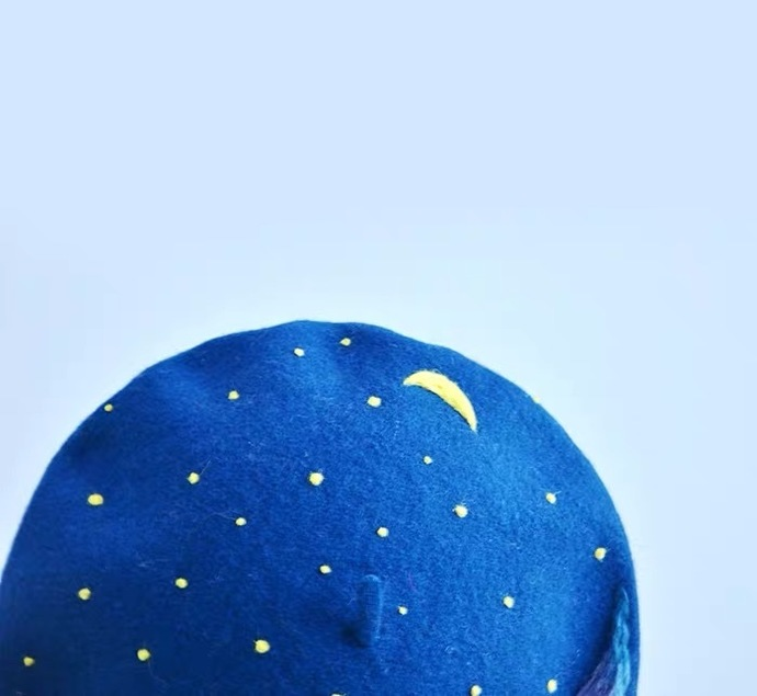 Needle Felted French Beret Hat:  Moon River