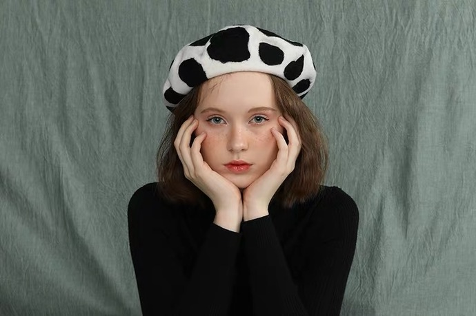 Needle Felted French Beret Hat:  Dairy Cattle Holstein Cow