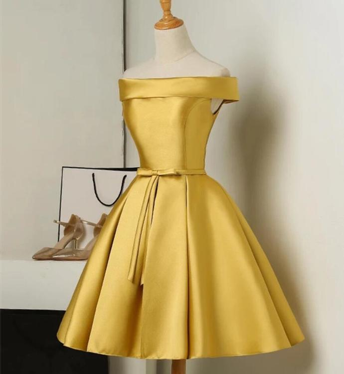 wedding party dresses 2020 off the shoulder gold satin cheap bridesmaid dresses