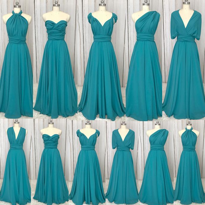 convertible bridesmaid dresses long turquoise blue cheap chiffon a line wedding