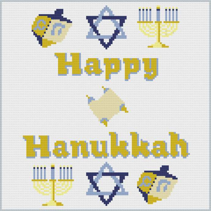 Happy Hanukkah C2C Crochet Pattern PDF Afghan Graph Row by Row Color Block