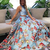Two Piece Round Neck Sweep Train Blue Floral Organza Prom Dress