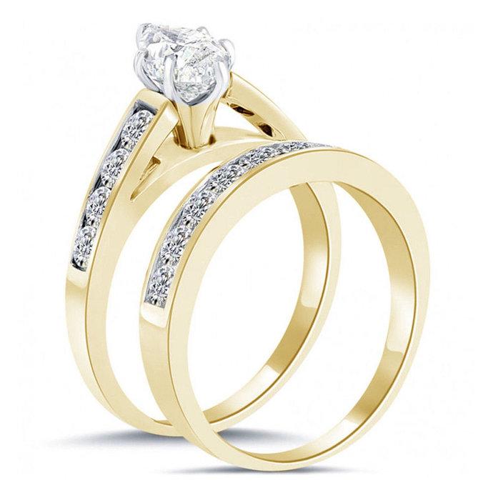 14k Rose Gold Finish Women's 2 Pcs Engagement Bridal Rings Set Round Cut Black