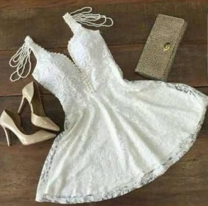 Cute Homecoming Dresses A line Straps Beading Lace Short Prom Dress