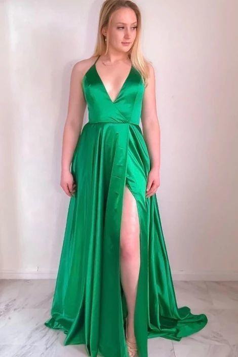 V neck Green Split Slit Evening Party Dress, Sexy Sleeveless Long Prom Dress