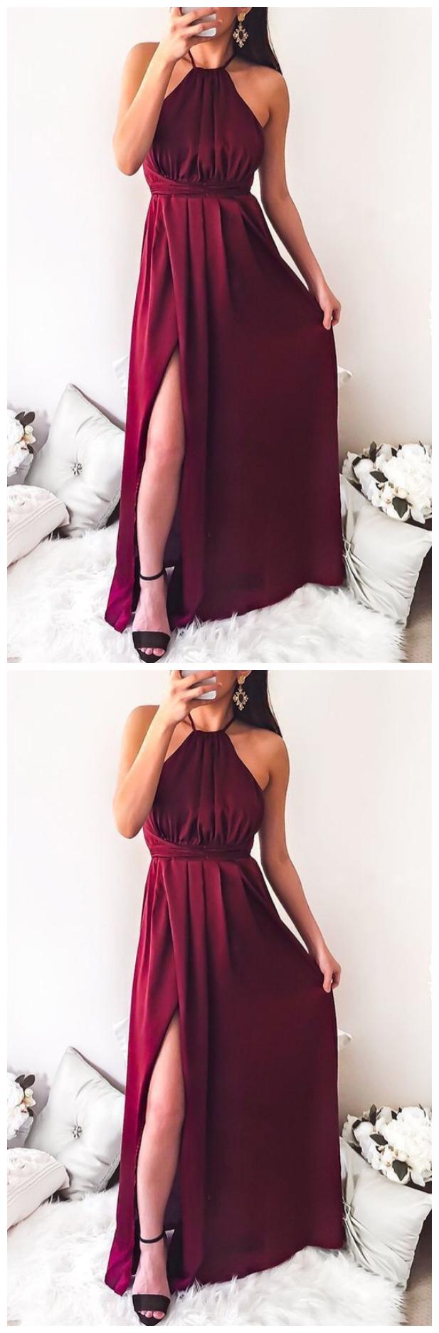 A-Line Halter Backless Floor-Length Burgundy Prom Dress with Split