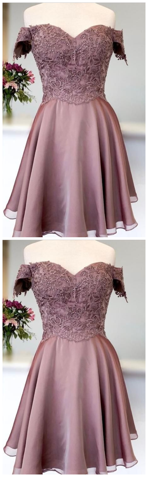 princess short prom dress off the shoulder, brown homecoming dress short